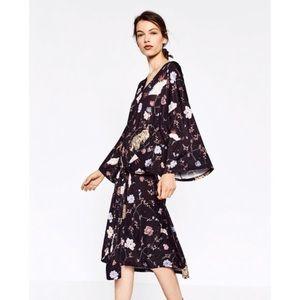 Zara Tiger Floral Bird Print Front Tie Dress